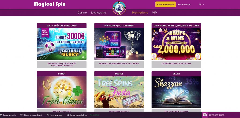 Promotions et bonus Magical Spin Casino