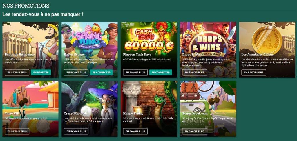Promotions Cresus Casino